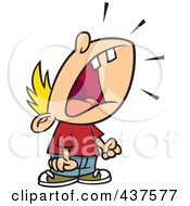 Royalty Free RF Clip Art Illustration Of A Cartoon Crying Boy Throwing A Temper Tantrum by Ron Leishman