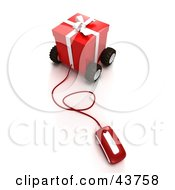 Clipart Illustration Of A Computer Mouse Connected To A Red Christmas Present On Wheels