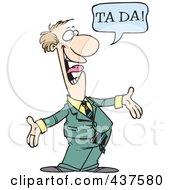 Royalty Free RF Clip Art Illustration Of A Surprising Cartoon Businessman Shouting Ta Ta by toonaday