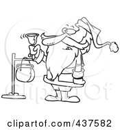 Royalty Free RF Clip Art Illustration Of A Black And White Outline Design Of Santa Ringing A Charity Bell