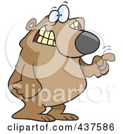 Royalty Free RF Clip Art Illustration Of A Cartoon Bear Tapping With His Finger
