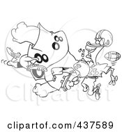 Royalty Free RF Clip Art Illustration Of A Black And White Outline Design Of A Football Player Tackling Another And Knocking Out His Teeth