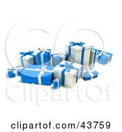 Clipart Illustration Of A Group Of Various Sized Gift Boxes Wrapped In Blue And White