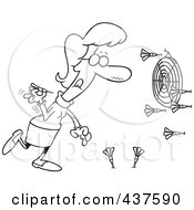 Royalty Free RF Clip Art Illustration Of A Black And White Outline Design Of A Woman Missing The Target While Throwing Darts