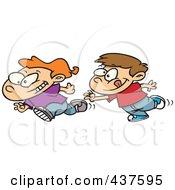 Royalty Free RF Clip Art Illustration Of Cartoon Boys Playing Tag