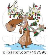 Royalty Free RF Clip Art Illustration Of A Decorated Christmas Moose In The Snow by toonaday