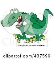 Royalty Free RF Clip Art Illustration Of A Cartoon Tyrannosaurus Rex Throwing A Temper Tantrum by Ron Leishman