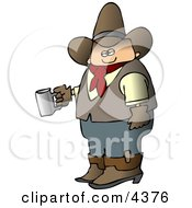 Morning Cowboy Holding A Cup Of Fresh Hot Coffee