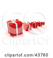 Clipart Illustration Of A Row Of Red Gift Boxes With The Biggest In The Front And Smallest In The Back