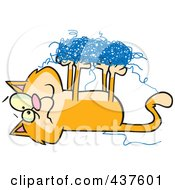 Royalty Free RF Clip Art Illustration Of An Orange Cat Tangled In String