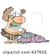 Royalty Free RF Clip Art Illustration Of A Prehistoric Man Chiseling A Tablet by toonaday