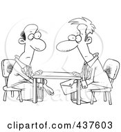 Royalty Free RF Clip Art Illustration Of A Black And White Outline Design Of Business Men Making A Deal Under The Table