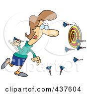 Royalty Free RF Clip Art Illustration Of A Cartoon Woman Missing The Target While Throwing Darts