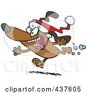 Royalty Free RF Clip Art Illustration Of A Christmas Dog Running And Wearing A Santa Hat