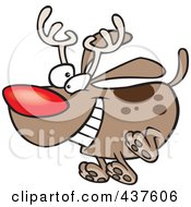 Royalty Free RF Clip Art Illustration Of A Red Nosed Christmas Dog Running And Wearing Antlers by toonaday
