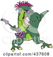 Royalty Free RF Clip Art Illustration Of A T Rex Playing A Guitar by toonaday
