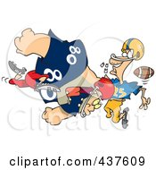 Football Player Tackling Another And Knocking Out His Teeth
