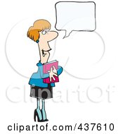 Royalty Free RF Clip Art Illustration Of A Cartoon Businesswoman Hugging A Book And Talking