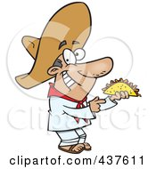 Royalty Free RF Clip Art Illustration Of A Happy Hispanic Man Holding A Taco
