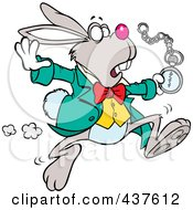 Royalty Free RF Clip Art Illustration Of A Tardy Cartoon Rabbit Looking At His Pocket Watch While On The Run