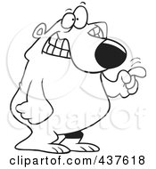 Royalty Free RF Clip Art Illustration Of A Black And White Outline Design Of A Bear Tapping With His Finger by toonaday