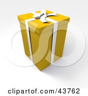 Clipart Illustration Of A Tall Yellow 3d Gift Box With A White Bow And Ribbon