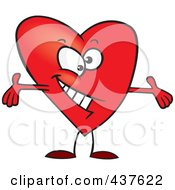 Royalty Free RF Clip Art Illustration Of A Red Surprising Heart With Open Arms by toonaday