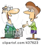 Royalty Free RF Clip Art Illustration Of A Cartoon Woman Talking To A Man About Classified Ads by toonaday