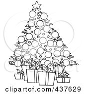 Black And White Outline Design Of A Christmas Tree And Gifts