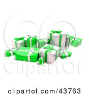 Clipart Illustration Of A Group Of Various Sized Gift Boxes Wrapped In Green And White