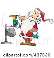 Royalty Free RF Clip Art Illustration Of Santa Ringing A Charity Bell