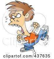 Royalty Free RF Clip Art Illustration Of A Cartoon Boy Throwing A Temper Tantrum by Ron Leishman