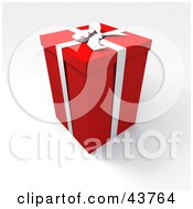 Clipart Illustration Of A Tall Red 3d Gift Box With A White Bow And Ribbon