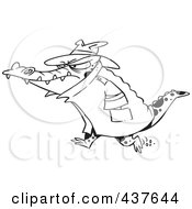 Royalty Free RF Clip Art Illustration Of A Black And White Outline Design Of A Thug Crocodile In A Hat And Coat