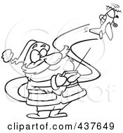 Royalty Free RF Clip Art Illustration Of A Black And White Outline Design Of A Santa Flying A Remote Control Plane