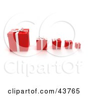Clipart Illustration Of A Row Of Red Gift Boxes With The Biggest On The Left And Smallest On The Right