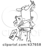 Royalty Free RF Clip Art Illustration Of A Black And White Outline Design Of A Businessman Holding His Teddy Bear At The Top Of A Hill