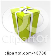 Clipart Illustration Of A Tall Green 3d Gift Box With A White Bow And Ribbon