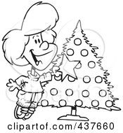 Royalty Free RF Clip Art Illustration Of A Black And White Outline Design Of A Happy Girl Decorating A Christmas Tree