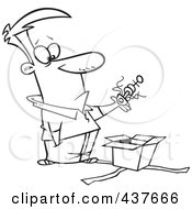 Royalty Free RF Clip Art Illustration Of A Black And White Outline Design Of A Man Lifting An Odd Thing Out Of A Gift Box
