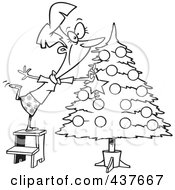 Royalty Free RF Clip Art Illustration Of A Black And White Outline Design Of A Happy Lady Decorating A Christmas Tree