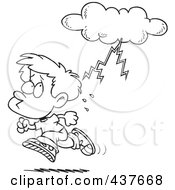 Black And White Outline Design Of A Boy Running From Lightning