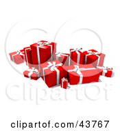 Clipart Illustration Of A Group Of Various Sized Gift Boxes Wrapped In Red