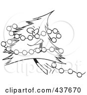 Royalty Free RF Clip Art Illustration Of A Black And White Outline Design Of A Happy Christmas Tree With Baubles