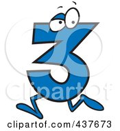 Royalty Free RF Clip Art Illustration Of A Running Number Three