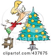 Royalty Free RF Clip Art Illustration Of A Blond Lady Decorating A Christmas Tree