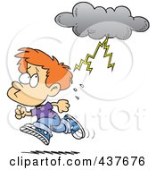 Cartoon Boy Running From Lightning