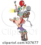Royalty Free RF Clip Art Illustration Of A Woman Sitting On A Stool And Wearing A Thinking Cap