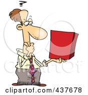 Royalty Free RF Clip Art Illustration Of A Businessman Holding A Cube And Thinking by toonaday