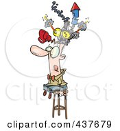Royalty Free RF Clip Art Illustration Of A Cartoon Man Sitting On A Stool And Wearing A Thinking Cap by toonaday